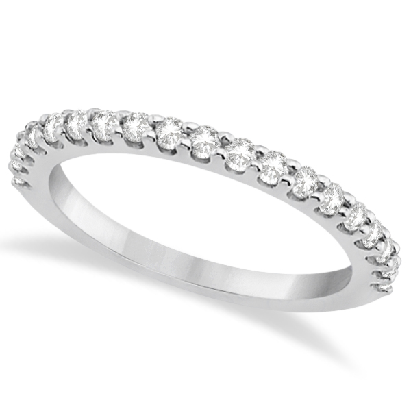 Diamond Semi Eternity Wedding Band Pave Set 18K White Gold (0.38ct)