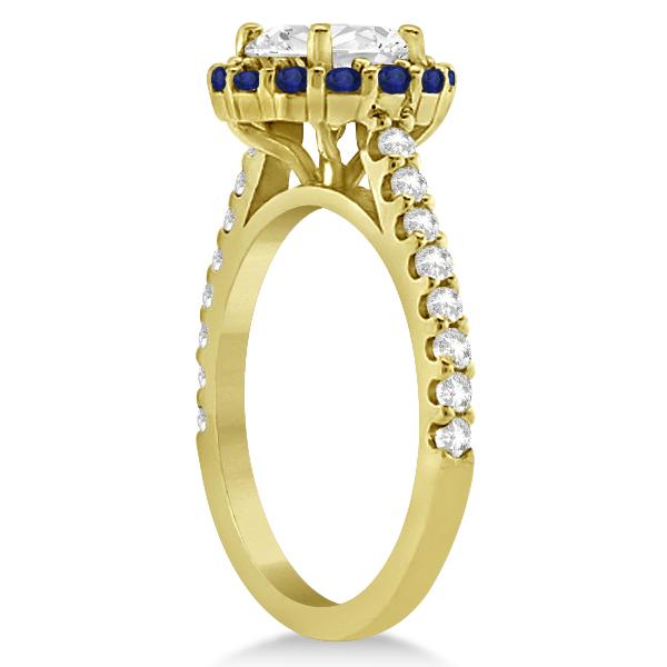 Halo Diamond & Blue Sapphire Engagement Ring 18K Yellow Gold (1.16ct)