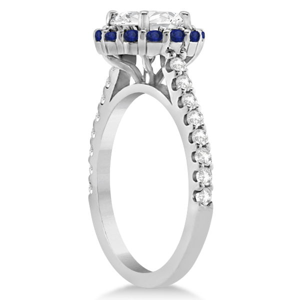 Halo Diamond & Blue Sapphire Ring Bridal Set 14K White Gold (1.54ct)