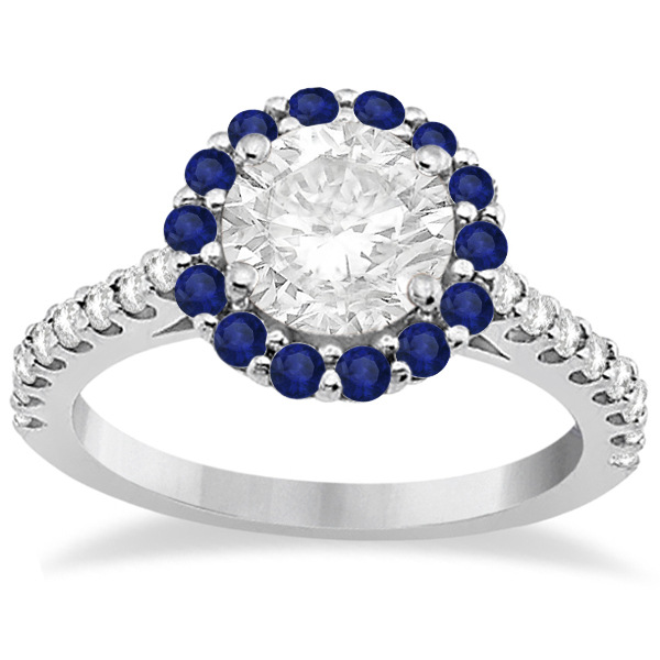 Halo Diamond & Blue Sapphire Ring Bridal Set Palladium (1.54ct)