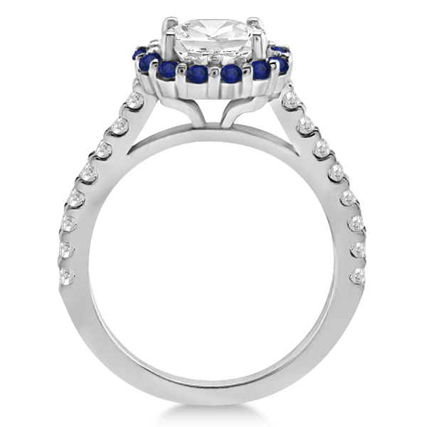 Halo Diamond & Blue Sapphire Ring Bridal Set Platinum (1.12ct)