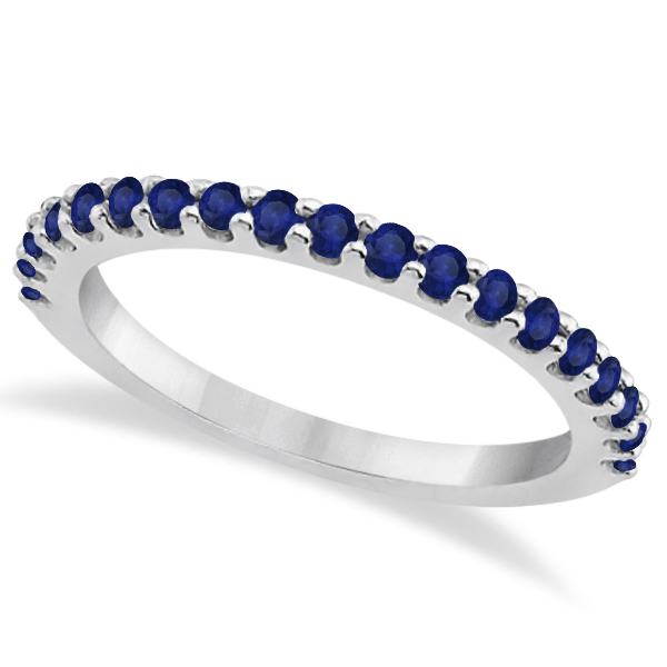 Blue Sapphire Gemstone Wedding Band Pave Set 14K White Gold (0.57ct)