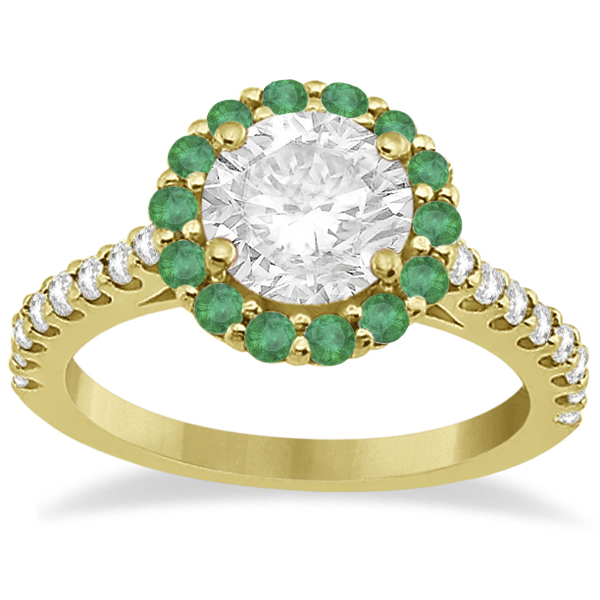 Round Halo Diamond and Emerald Engagement Ring 18K Yellow Gold (0.74ct)
