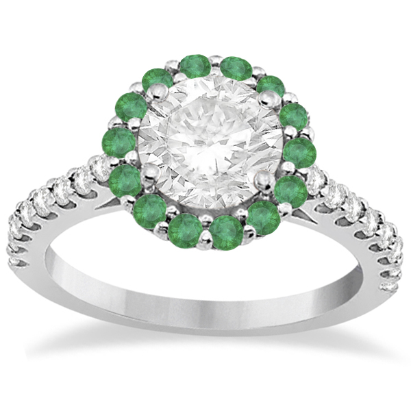 Round Halo Diamond and Emerald Engagement Ring Platinum (0.74ct)