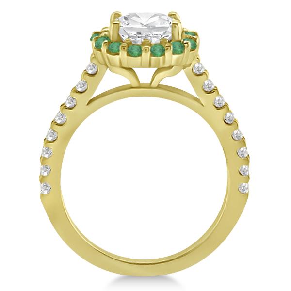 Halo Diamond & Emerald Bridal Engagement Ring Set 18K Yellow Gold (1.12ct)