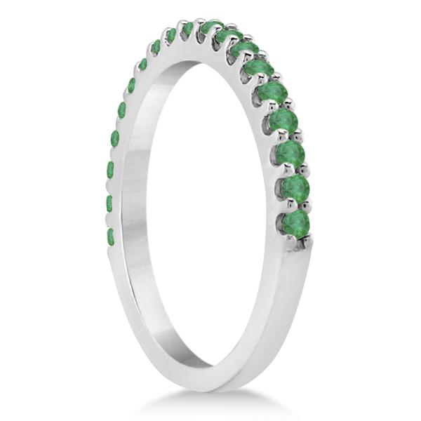 Green Emerald Stone Anniversary Band Pave Set 14K White Gold (0.38ct)