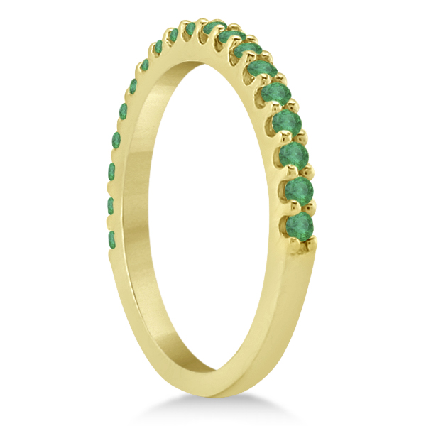 Green Emerald Stone Anniversary Band Pave Set 14K Yellow Gold (0.38ct)