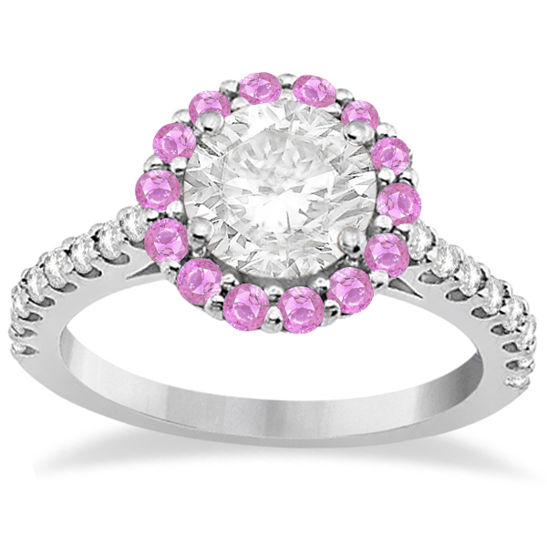 Halo Diamond & Pink Sapphire Engagement Ring 18K White Gold (0.74ct)