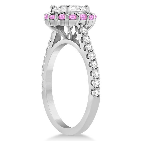 Halo Diamond & Pink Sapphire Engagement Ring Platinum(1.16ct)