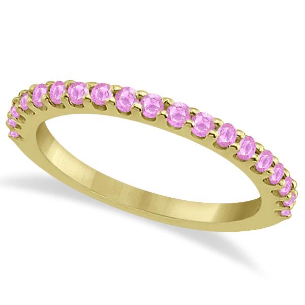 Pink Sapphire Gem Stone Wedding Band Pave Set 14K Yellow Gold (0.57ct)