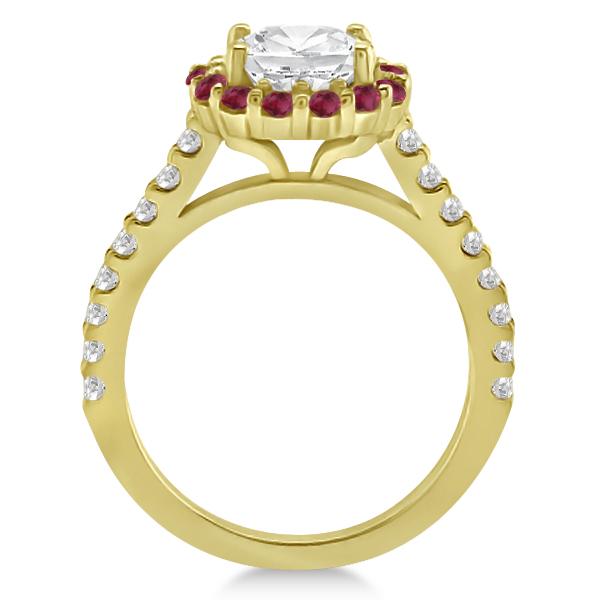 Round Halo Diamond & Ruby Engagement Ring 14K Yellow Gold (0.74ct)