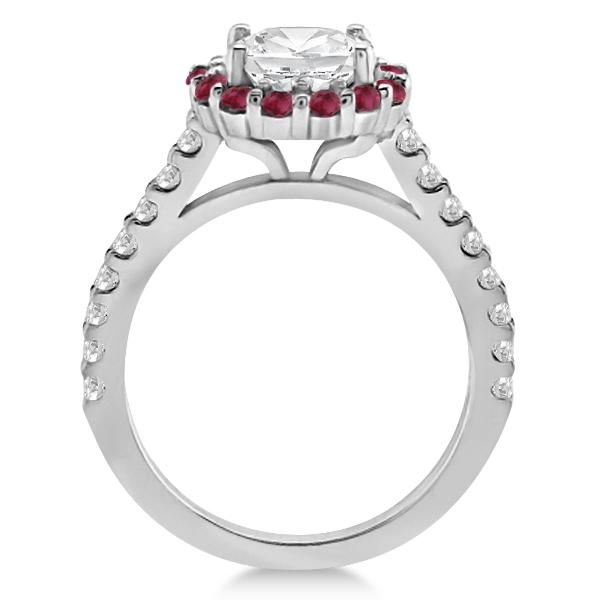 Halo Diamond & Ruby Bridal Engagement Ring Set Palladium (1.12ct)