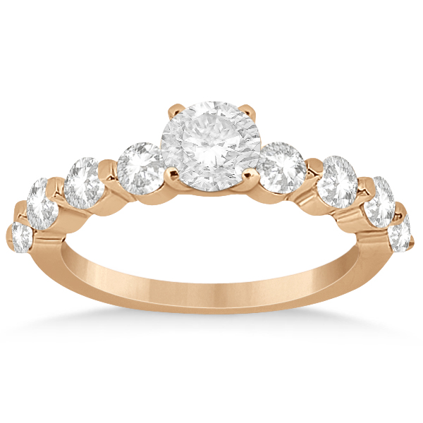 Shared Single Prong Diamond Engagement Ring 14K Rose Gold (0.80ct)