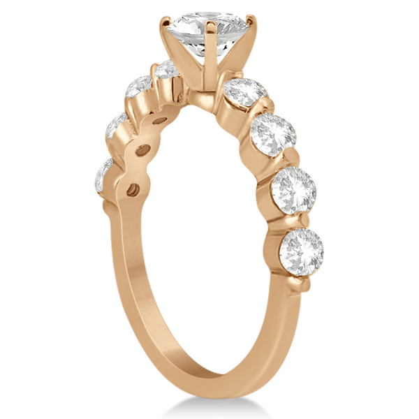 Shared Single Prong Diamond Engagement Ring 18K Rose Gold (0.80ct)