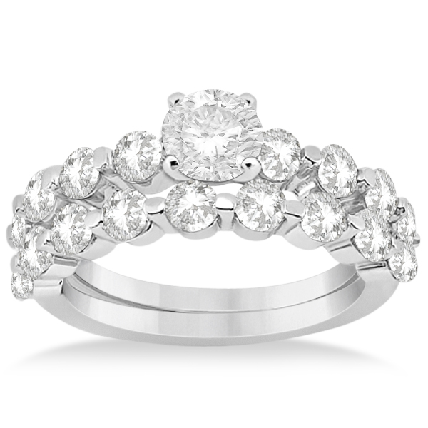 Shared Prong Semi-Eternity Diamond Bridal Set in Platinum 1.70ct