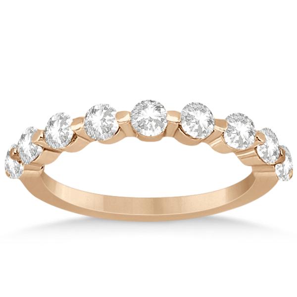 Shared Single Prong Diamond Wedding Ring 14K Rose Gold (0.90ct)