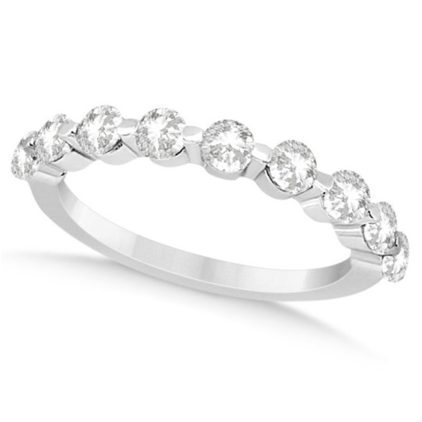 Shared Single Prong Diamond Wedding Ring 18K White Gold (0.90ct)