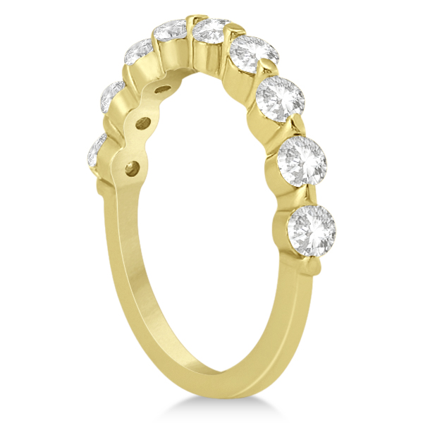 Shared Single Prong Diamond Wedding Ring 18K Yellow Gold (0.90ct)