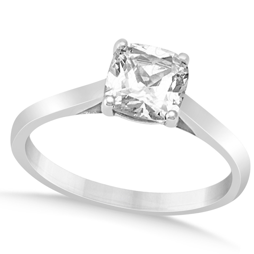 solitaire cushion cut engagement ring 14k white