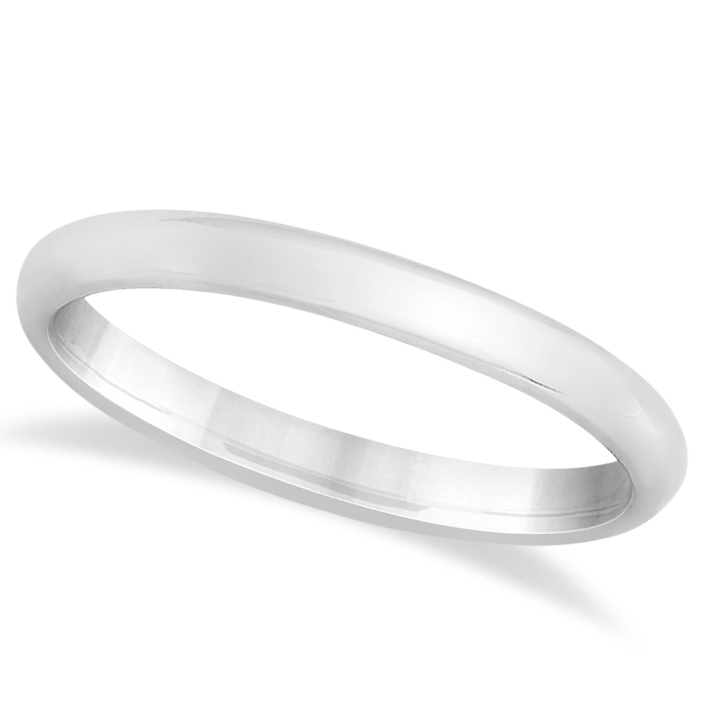 Womens Plain Dome Wedding Band 14k White Gold