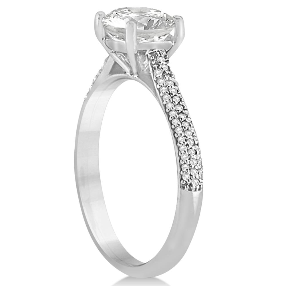 Diamond Three Row Cushion Cut Engagement Ring 14k White Gold (0.16ct)