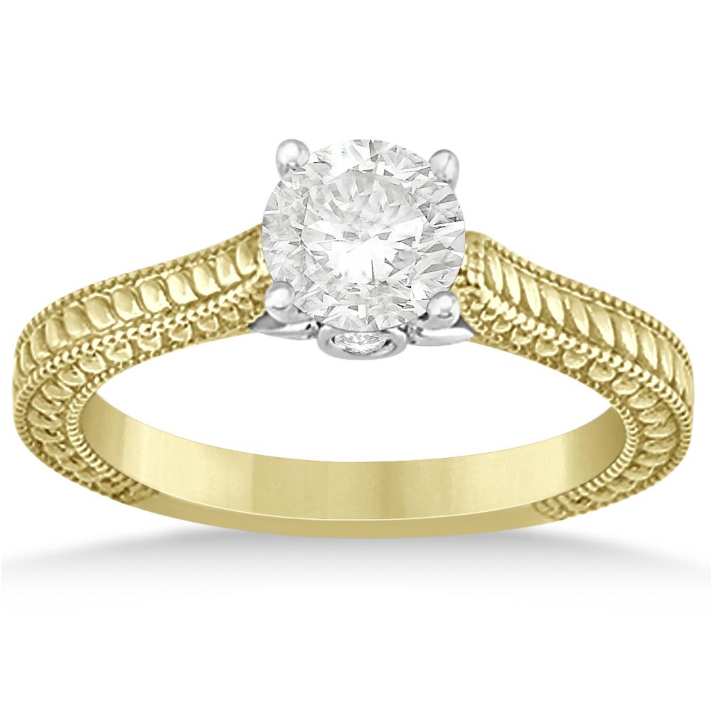 Art Deco Unique Diamond Wedding Ring 14k Two Tone Gold: Diamond Antique Style Filigree Engagement Ring 14k Two