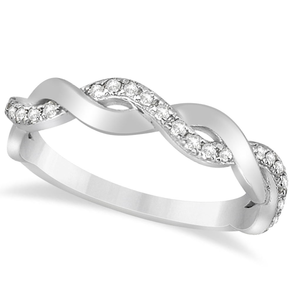 diamond twisted infinity wedding ring band 14k white gold. Black Bedroom Furniture Sets. Home Design Ideas