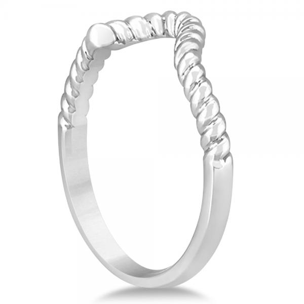 Twisted Contoured Wedding Band 14k White Gold