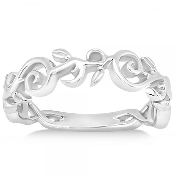 Diamond Flower Swirl Solitaire Bridal Ring Set  14k White Gold