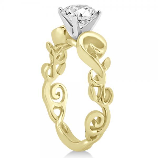 Diamond Flower Swirl Bridal Set Setting 14k Yellow Gold