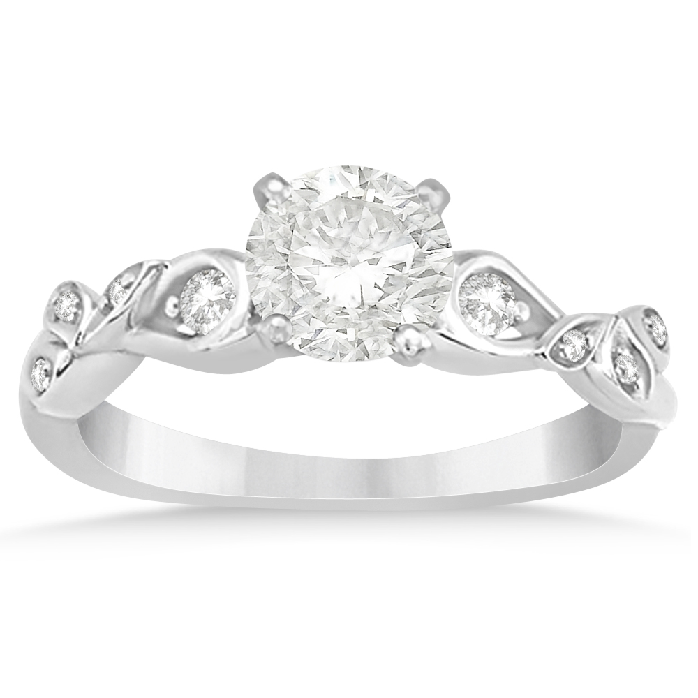 Diamond Vine Leaf Engagement Ring Setting 14k White Gold 0