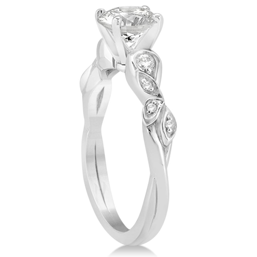 Diamond Vine Leaf Engagement Ring Setting 14k White Gold (0.09ct)