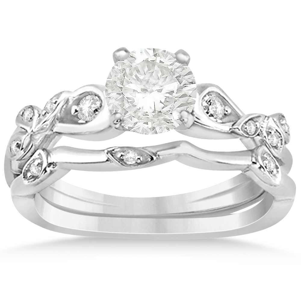 Diamond Vine Leaf Engagement Ring Bridal Set 14k White