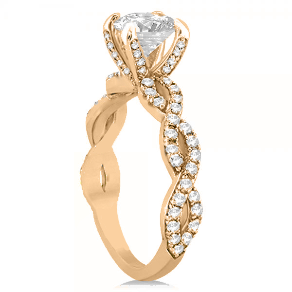 Diamond Infinity Twisted Engagement Ring Setting 18k Rose Gold 0.58ct
