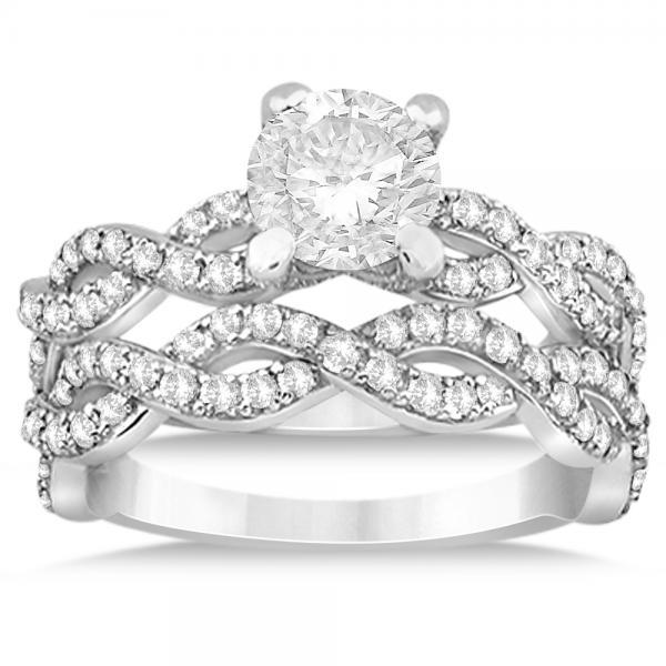 Infinity Platinum: Diamond Infinity Twisted Bridal Set Setting Platinum (1