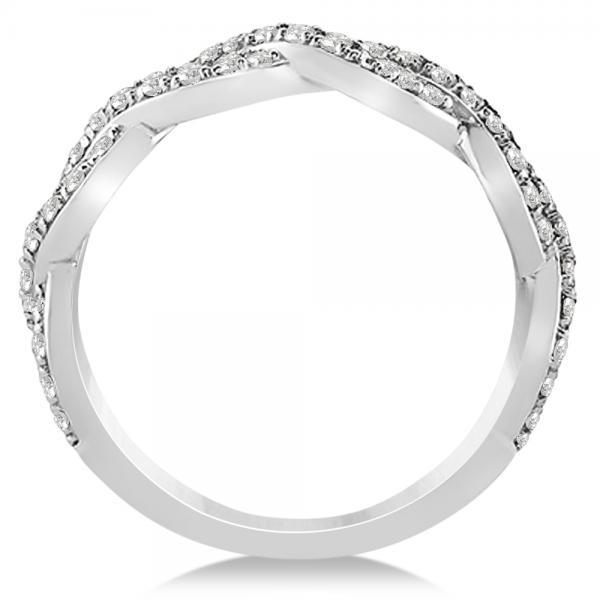 Infinity Platinum: Diamond Twisted Infinity Ring Wedding Band Platinum (0