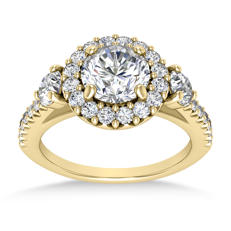Diamond Fancy Halo Engagement Ring 14k Yellow Gold (0.68ct)