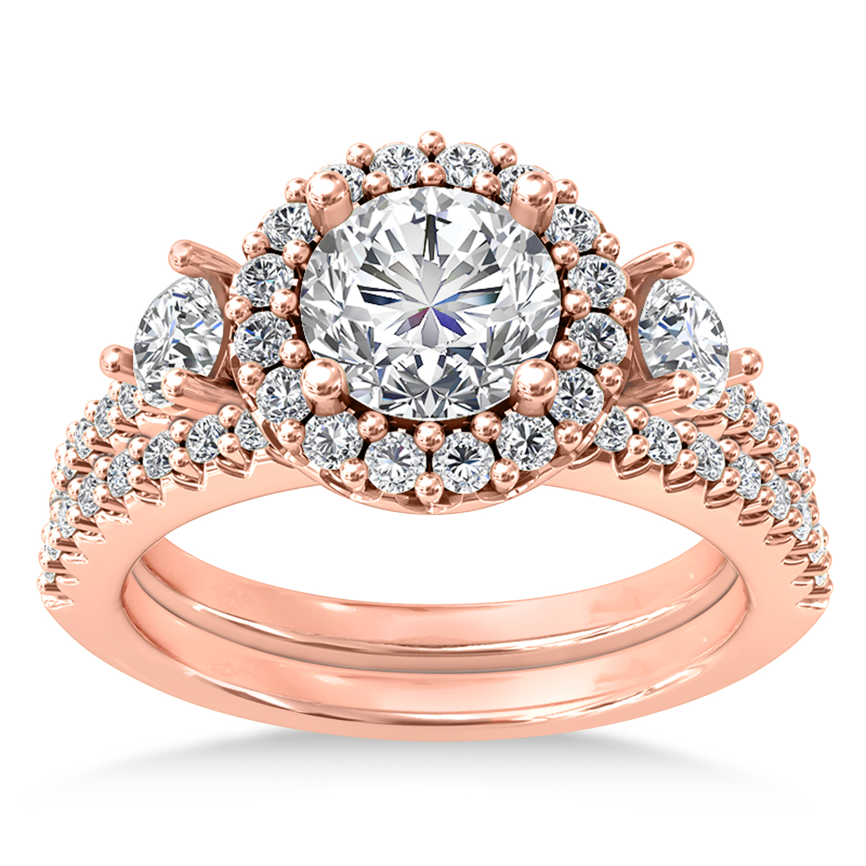 Diamond Fancy Halo Bridal Set 14k Rose Gold (0.89ct)