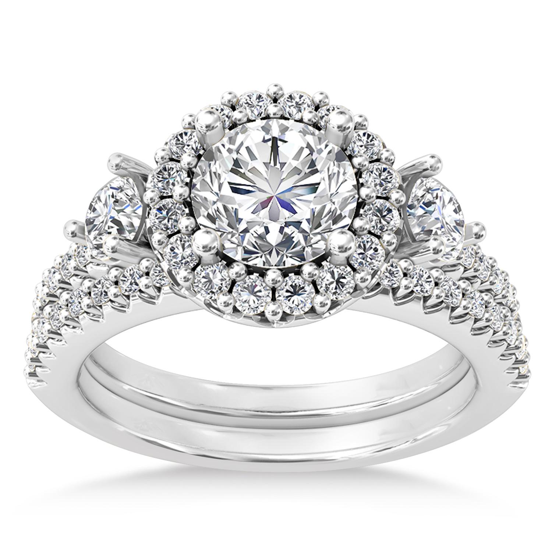 Diamond Fancy Halo Bridal Set 14k White Gold (0.89ct)