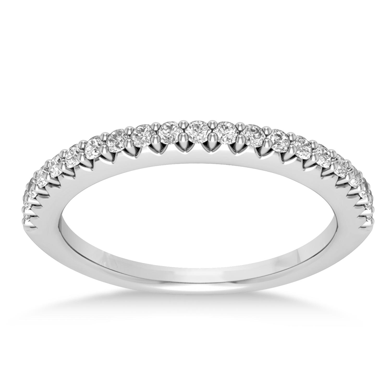 Diamond Accented Wedding Band 14k White Gold (0.21ct)