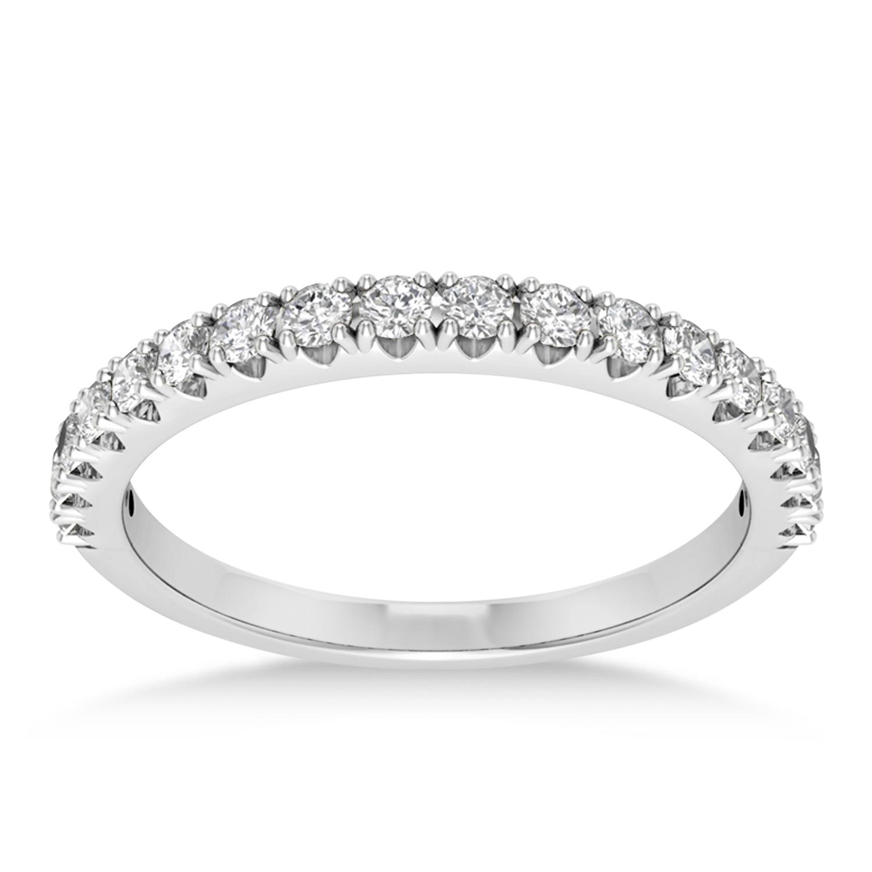 Diamond Accented Wedding Band 14k White Gold (0.36ct)