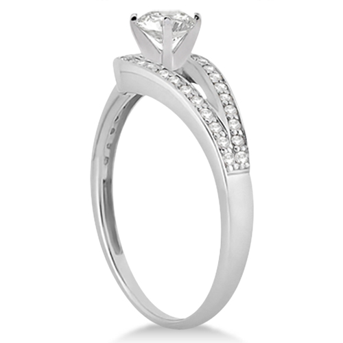 Pave Love-Knot Pave Diamond Engagement Ring 14k White Gold (0.20ct)