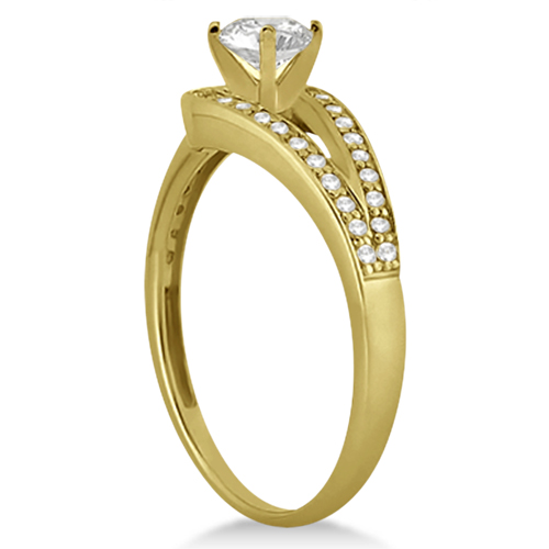 pave love knot pave diamond engagement ring 14k yellow