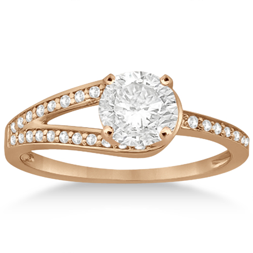 Pave Love-Knot Pave Diamond Engagement Ring 18k Rose Gold (0.20ct)