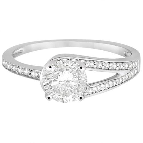 Pave Love-Knot Pave Diamond Engagement Ring Palladium (0.20ct)