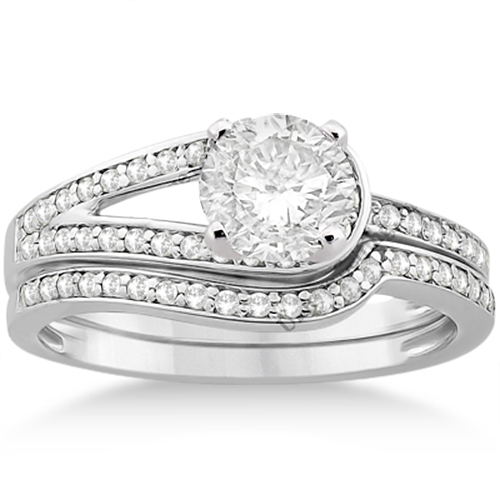 Love Knot Diamond Engagement Ring Set 14k White Gold (0.32ct)
