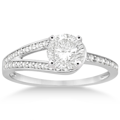 Love Knot Diamond Engagement Ring Set 18k White Gold (0.32ct)