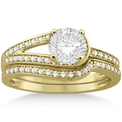 Love Knot Diamond Engagement Ring Set 18k Yellow Gold (0.32ct)