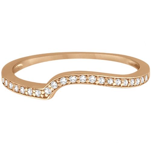 Pave Contour Band Diamond Wedding Ring 14k Rose Gold (0.12ct)