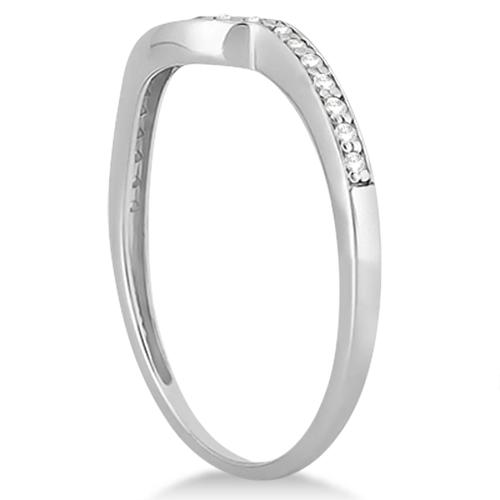 Pave Contour Band Diamond Wedding Ring 14k White Gold (0.12ct)